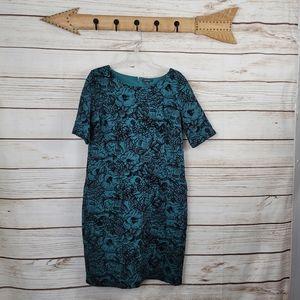 Lands End | Velvet Floral Midi Short Sleeve Dress